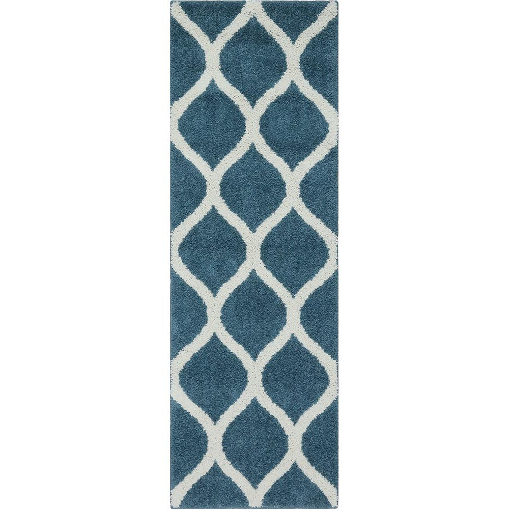 Ogee 2 Color Shag Overcast Blue Runner Maples Rugs