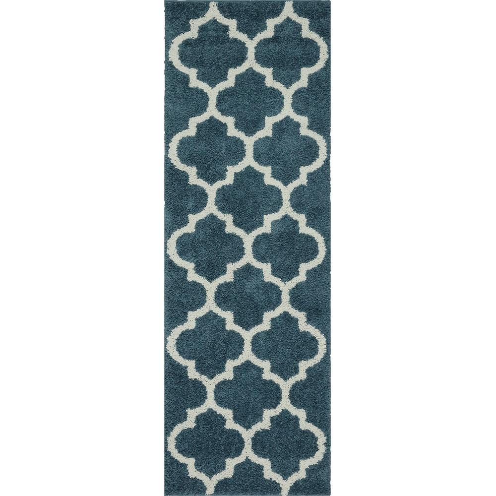 Trellis 2 Color Shag Overcast Blue Runner Maples Rugs