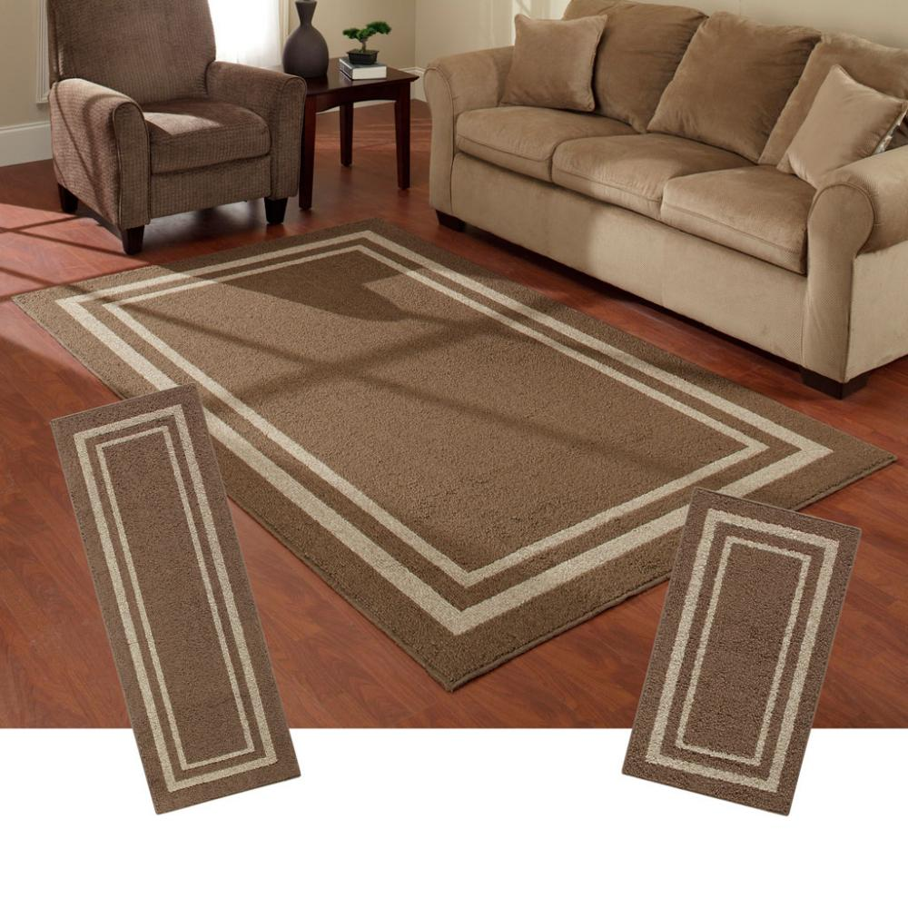 frame border brown area rug set maples rugs 87781