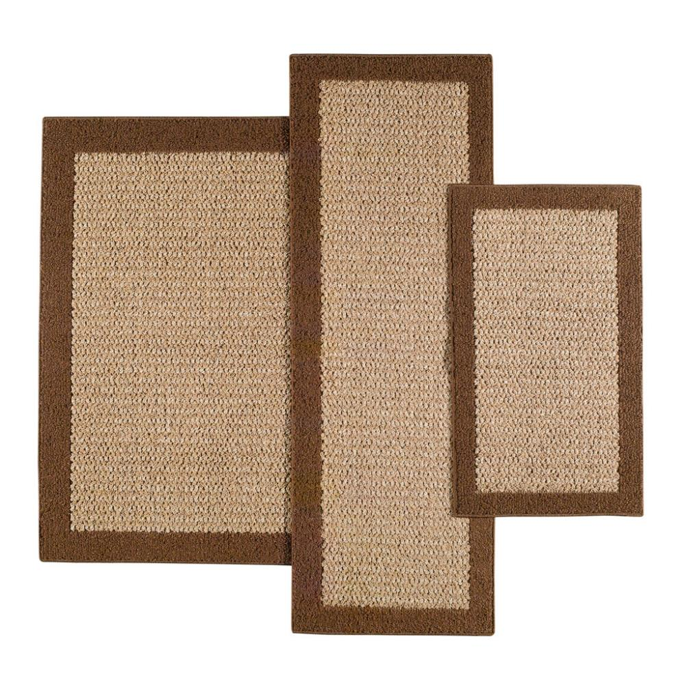 Faux Sisal Brown Accent Rug Set