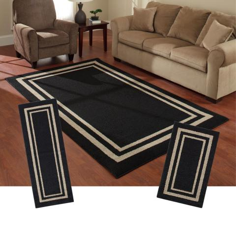 Frame Border Brown Area Rug Set